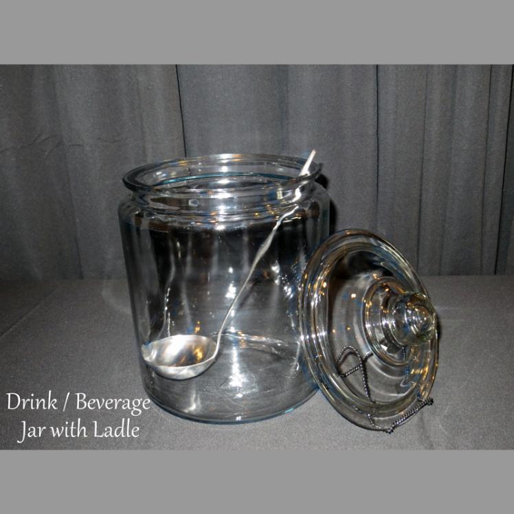 glass beverage jar with ladle